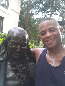 A new running route crosses me with Ben Franklin...lol